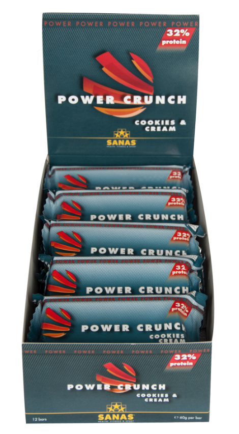 Sanas Power Crunch proteinbar - 1 kasse 12 bar